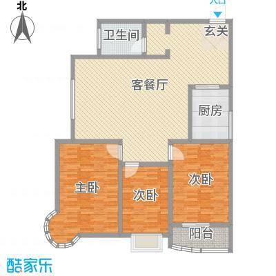 龙悦湾三期140.38㎡e户型3室3厅1卫1厨
