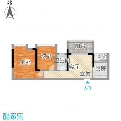 清泉城市广场62.80㎡5栋05户型2室2厅1卫1厨