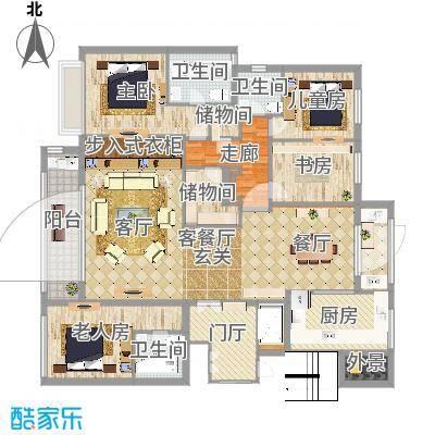 铂翠湾220平户型三室两厅