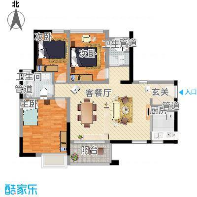 万科金域国际98.00㎡万科金域国际户型图3-5栋01、04单元标准层流金岁月户型3室2厅2卫1厨户
