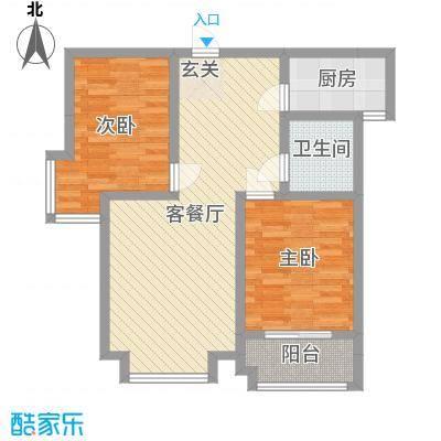 御龙湾86.00㎡5号楼K户型2室2厅2卫1厨