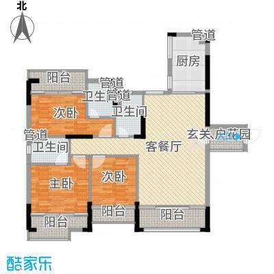 翡翠明珠125.46㎡一期G1座03单位/G2座04单位户型3室3厅3卫1厨