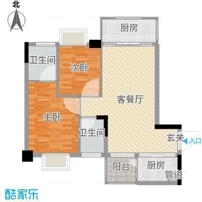 金龙居82.76㎡3栋2-7标准层01户型2室2厅2卫1厨