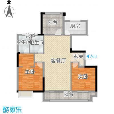 中海��城公馆115.00㎡一期2#标准层C5户型3室3厅2卫1厨
