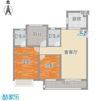 中海��城公馆106.00㎡二期18#楼、三期9#楼标准层户型3室3厅2卫1厨