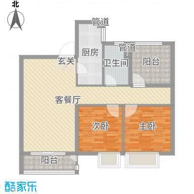 中海��城公馆88.00㎡1、2、6#楼标准层C1户型3室3厅1卫1厨
