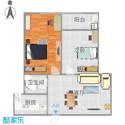 碧水华庭100方A3户型两室两厅-副本