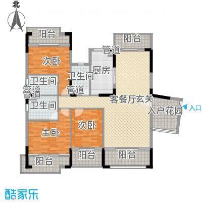 翡翠明珠137.05㎡一期A1/A2座01单位户型3室3厅3卫1厨