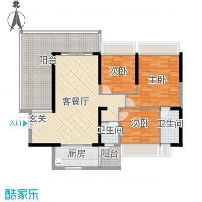 东方花园134.51㎡6号D户型3室3厅2卫1厨
