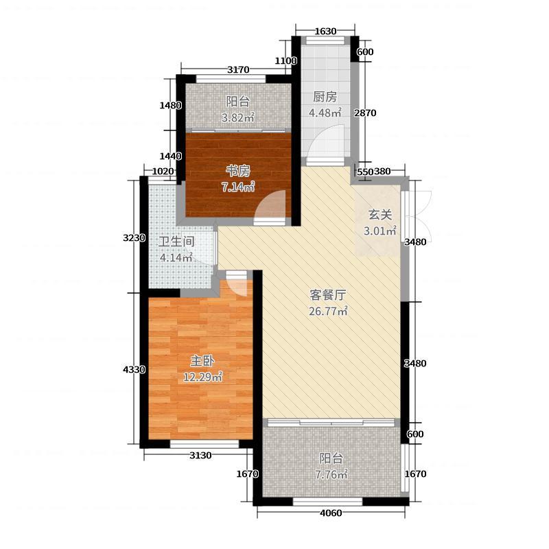 青岛中南世纪城83.00㎡三期10#楼b5户型2室2厅1卫1厨