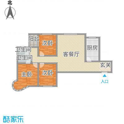 龙悦湾三期140.41㎡a户型3室3厅2卫1厨
