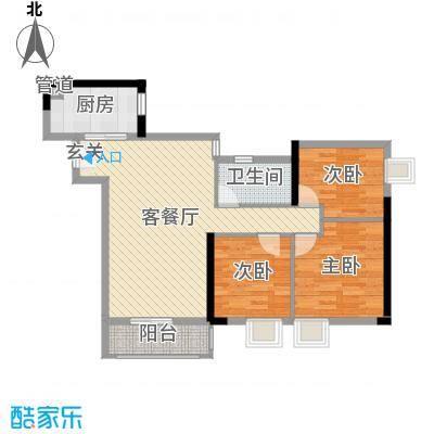 峰湖御境92.00㎡J6栋03/J7栋01户型3室3厅1卫1厨