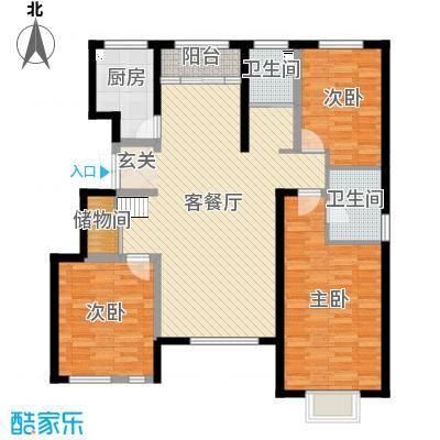 黄河龙城・瞰湖高层128.79㎡洋房F5户型3室3厅2卫1厨