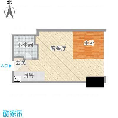 苏宁广场70.00㎡小平层A1户型1室1厅1卫1厨