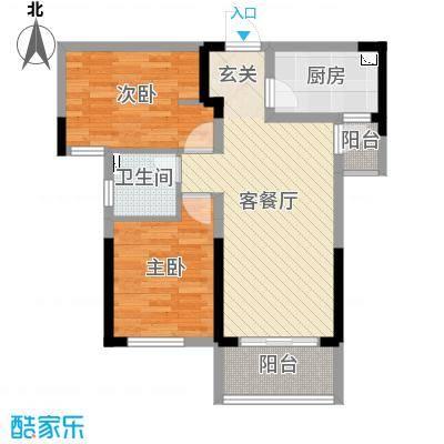 龙湖湘风星城76.53㎡一期F1户型2室2厅1卫1厨