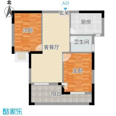 京杭明珠84.00㎡E户型2室2厅1卫1厨