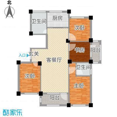 京杭明珠134.00㎡J户型4室4厅2卫1厨