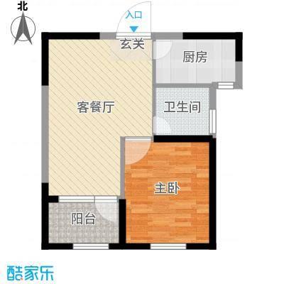 京杭明珠58.00㎡二期H户型1室1厅1卫1厨