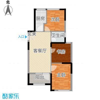 京杭明珠100.60㎡K户型3室3厅1卫1厨