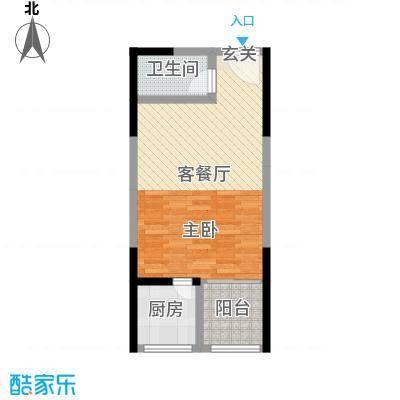 宏江中央广场52.00㎡一期16#楼标准层户型1室1厅1卫1厨