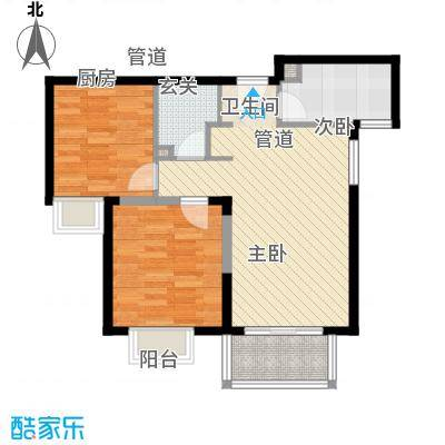 隆兴宜居82.26㎡13#C1-2户型2室2厅1卫1厨-副本