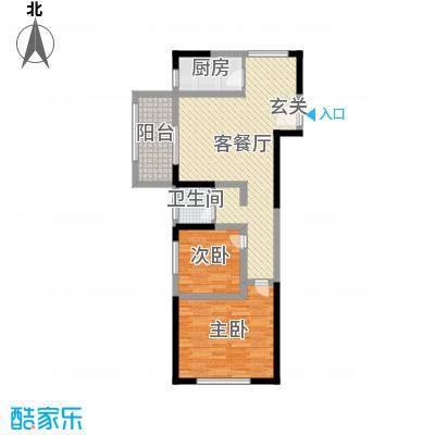 宏江中央广场77.00㎡一期16#楼标准层户型2室2厅1卫1厨