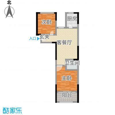 宏江中央广场78.00㎡一期16#楼标准层户型2室2厅1卫1厨