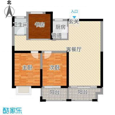 宏江中央广场105.00㎡二期B-1户型3室3厅1卫1厨