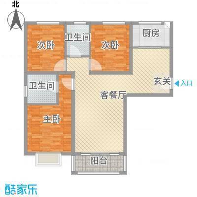 盛弘朗庭119.58㎡12-1-户型3室3厅2卫1厨