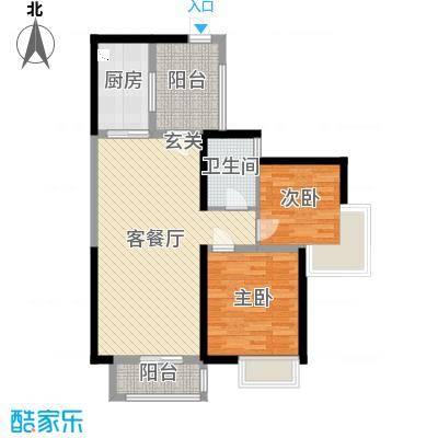 广州亚运城89.00㎡5号组团的户型2室2厅1卫1厨