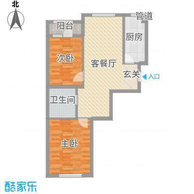 中拥塞纳城74.76㎡1号楼D户型2室2厅1卫1厨