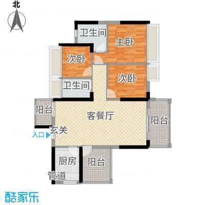 东江学府107.00㎡六期5/6栋3F户型3室3厅2卫1厨