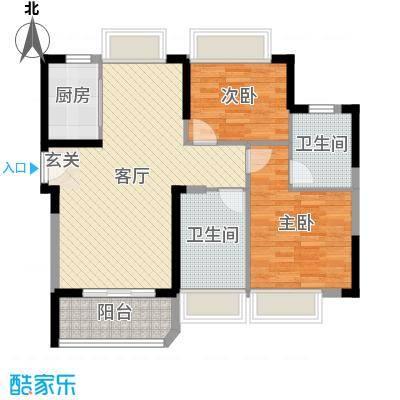 碧桂园十里银滩87.00㎡梵高的海7#E户型2室2厅2卫1厨