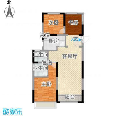 雅戈尔新东城102.00㎡高层B户型3室3厅2卫1厨