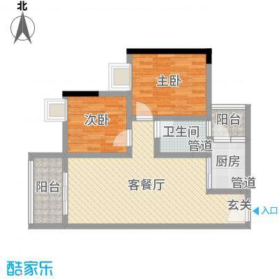金田花园花域75.00㎡22栋B2户型2室2厅1卫1厨