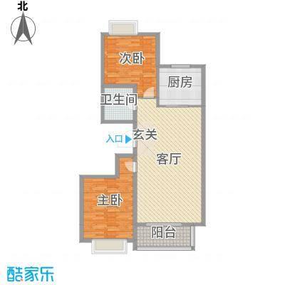 嘉晟阳光城108.28㎡3A'户型2室2厅1卫1厨
