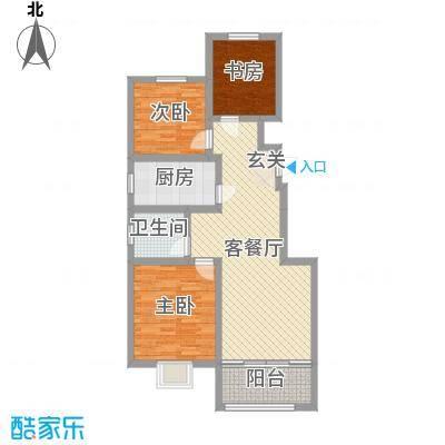鑫江玫瑰园88.00㎡1#左边户型3室3厅1卫1厨