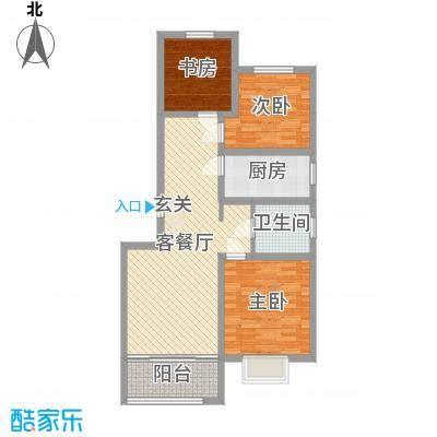 鑫江玫瑰园92.00㎡3#右边户户型3室3厅1卫1厨