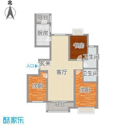嘉晟阳光城135.59㎡8A'户型3室3厅2卫1厨