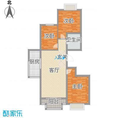 嘉晟阳光城115.39㎡3A户型3室3厅1卫1厨