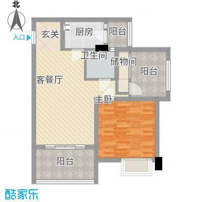 中国水电海赋外滩78.41㎡3-C户型1室2厅1卫1厨-副本