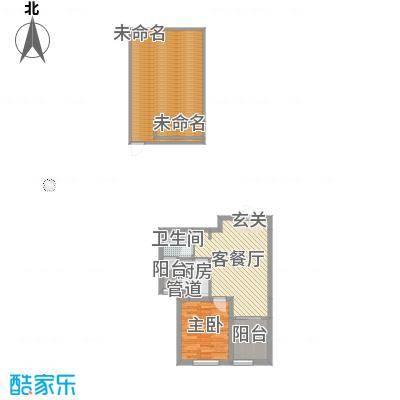 中国水电海赋外滩49.02㎡3-B1户型1室1厅1卫1厨-副本-副本