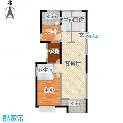 开投置业公元世家117.00㎡三期D户型3室3厅2卫1厨