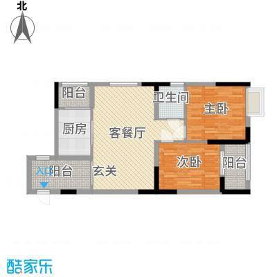 景泰花园86.69㎡B栋05户型2室2厅1卫1厨