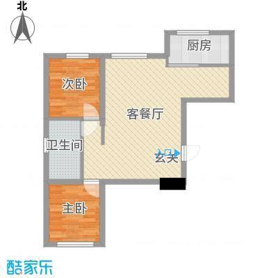 聚缘福地80.69㎡1#A户型2室2厅1卫1厨