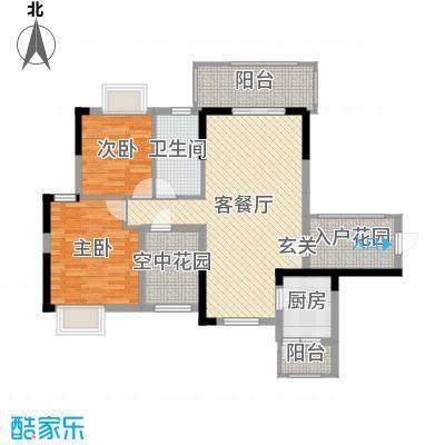 金地亚98.89㎡19栋E2户型3室3厅1卫1厨