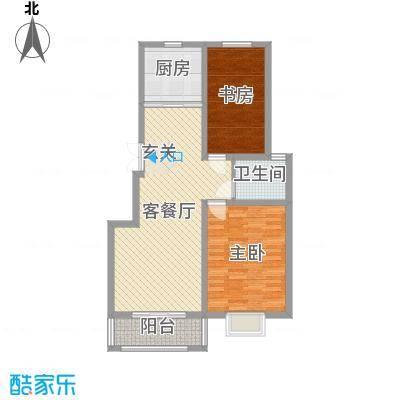 苏源聚福园96.70㎡6号楼E户型2室2厅1卫1厨