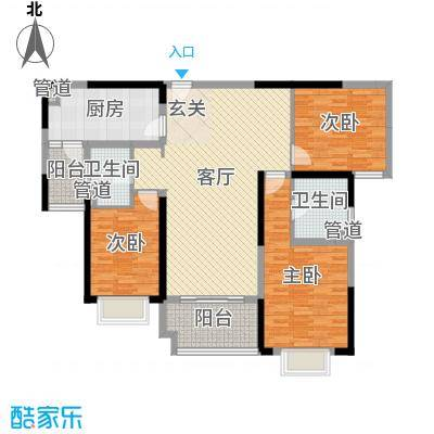 雅居乐滨江国际133.00㎡三期标准栋标准层户型3室3厅2卫1厨