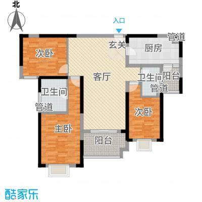 雅居乐滨江国际133.00㎡君悦组团9B3-02户型3室3厅2卫1厨