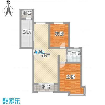 东方晨曲花苑119.47㎡1、2#楼标准层C户型2室2厅1卫1厨